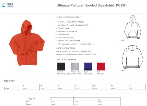 PC90H - 9 OUNCE 50/50 BLEND HOODED SWEATSHIRT