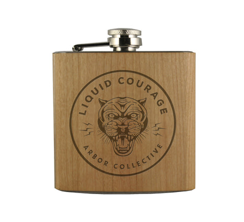 LIQUID COURAGE - WOOD WRAPPED FLASK