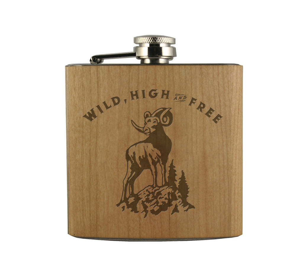 WILD HIGH & FREE - WOOD WRAPPED FLASK