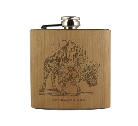 BUFFALO - WOOD WRAPPED FLASK