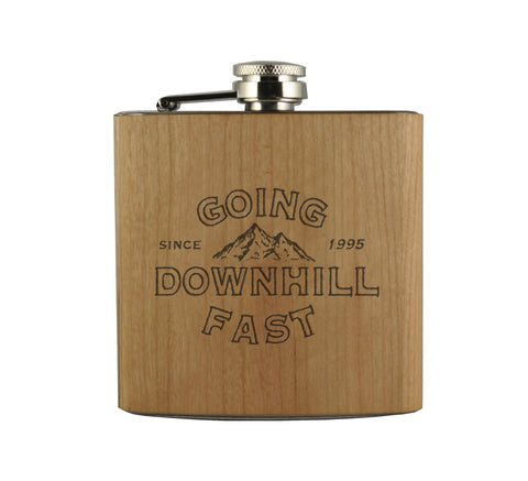 DOWNHILL FAST - WOOD WRAPPED FLASK