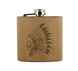 CHIEF SKULL - WOOD WRAPPED FLASK