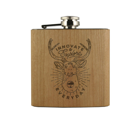 STAG - WOOD WRAPPED FLASK