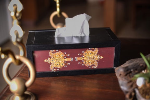 Maroon Double Paisley Tissue Box