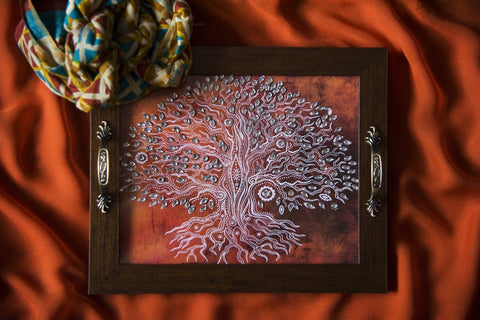 Orange Tree of Life Rectangular Tray