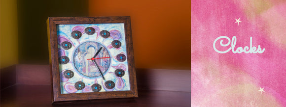 Buddha Print hand embellished clock with brass stones