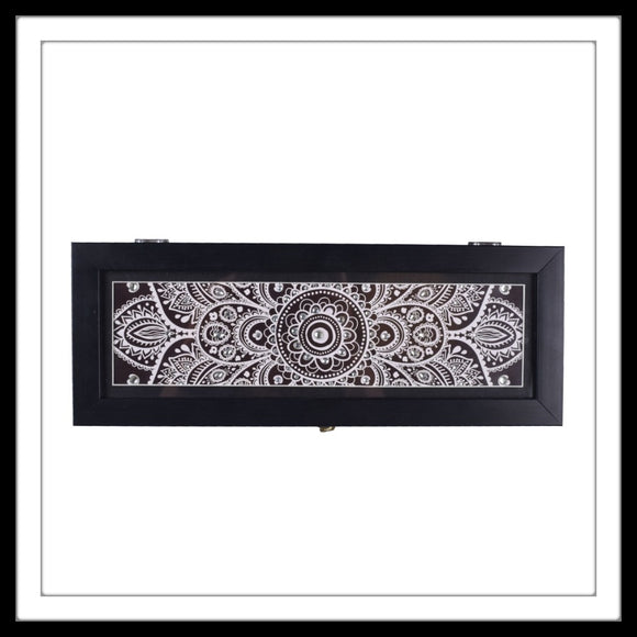 Black and White Handmade Wooden wine box with half mandala print and embellished with stones. Great option for gifting wine bottles in.