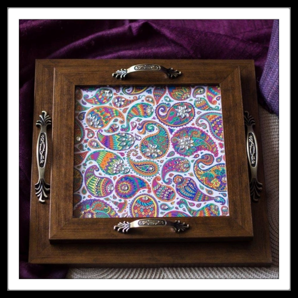 White Paisleys Tray Square Set - Footprints Forever