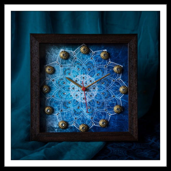 Blue Mandala Clock