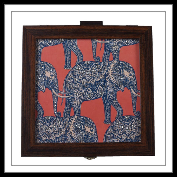 wooden large multipurpose box with batik elephant print, ideal for gifting and home use