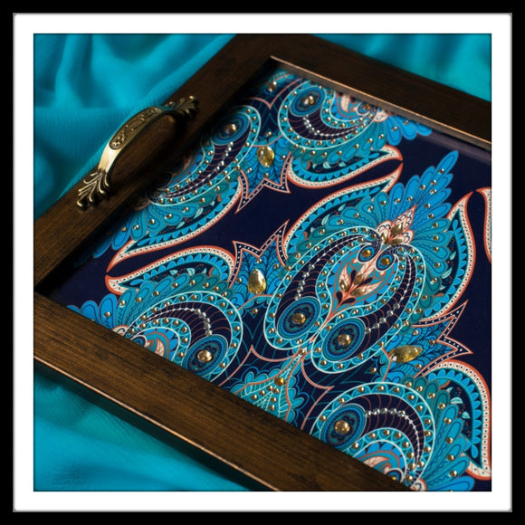 Bright Blue Rectangular Tray
