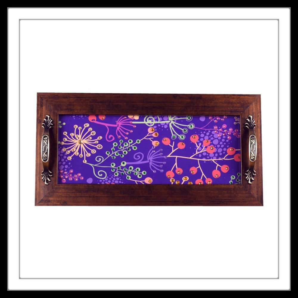 Purple Floral Long Tray - Footprints Forever