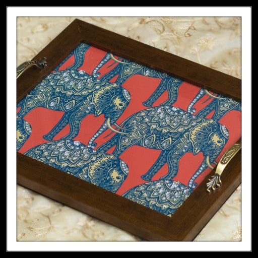 Batik print bling red & blue elephant tray