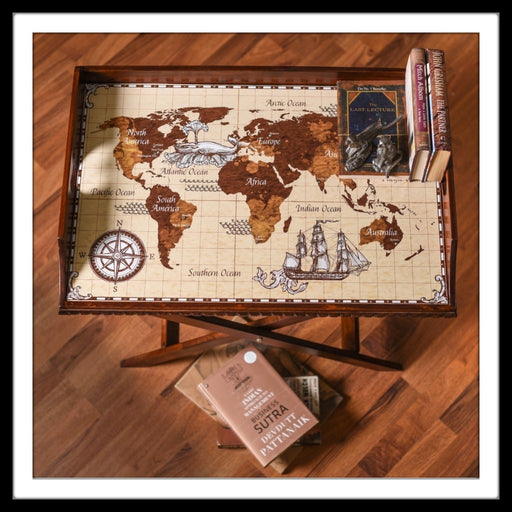 Vintage World Map Butler Tray with Trestle Stand - Footprints Forever