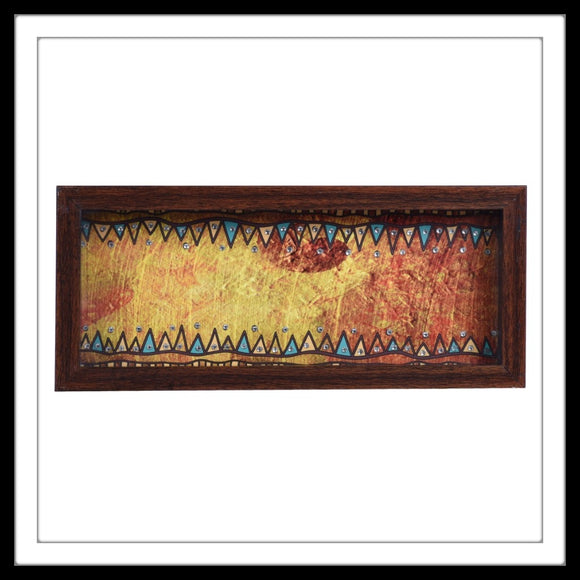 hand embellished multipurpose tray with rust ethnic print, suitable for gifting or home decor.