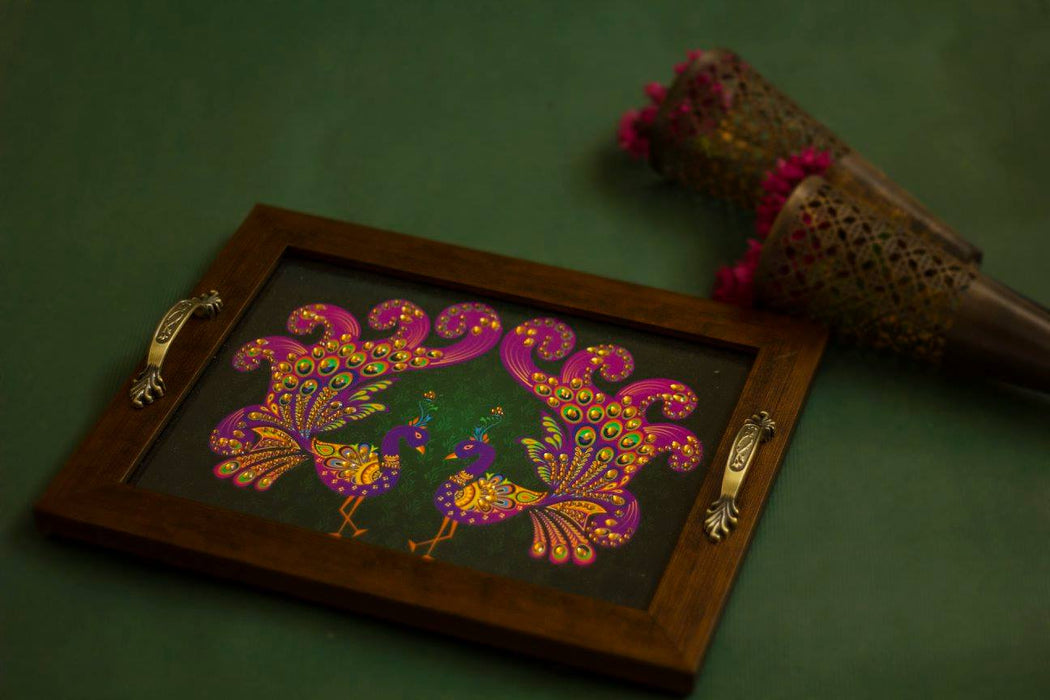 green and pink peacock pair tray for gifting