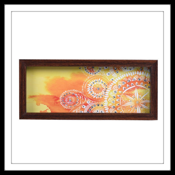 hand embellished multipurpose tray with yellow and white half mandala print. Great gift option