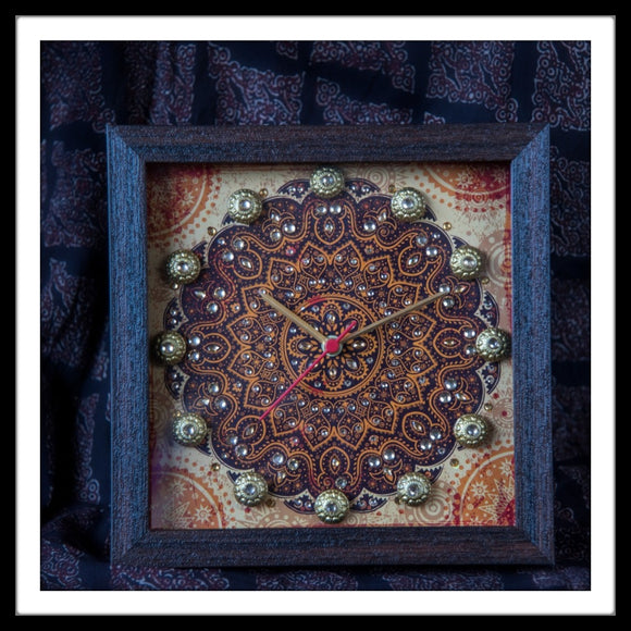Handmade Rust Mandala print Clock embellished with crystals and brass stones ideal for home or gifting.