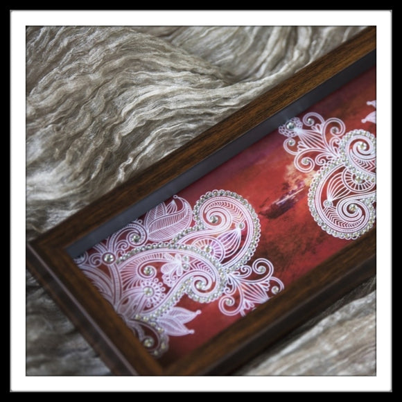 Red handmade multipurpose rectangular tray with white paisley print embellished with crystals, ideal for home use and gifting.