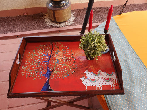 Red Pichwai Butler/ Side Table with  Stand