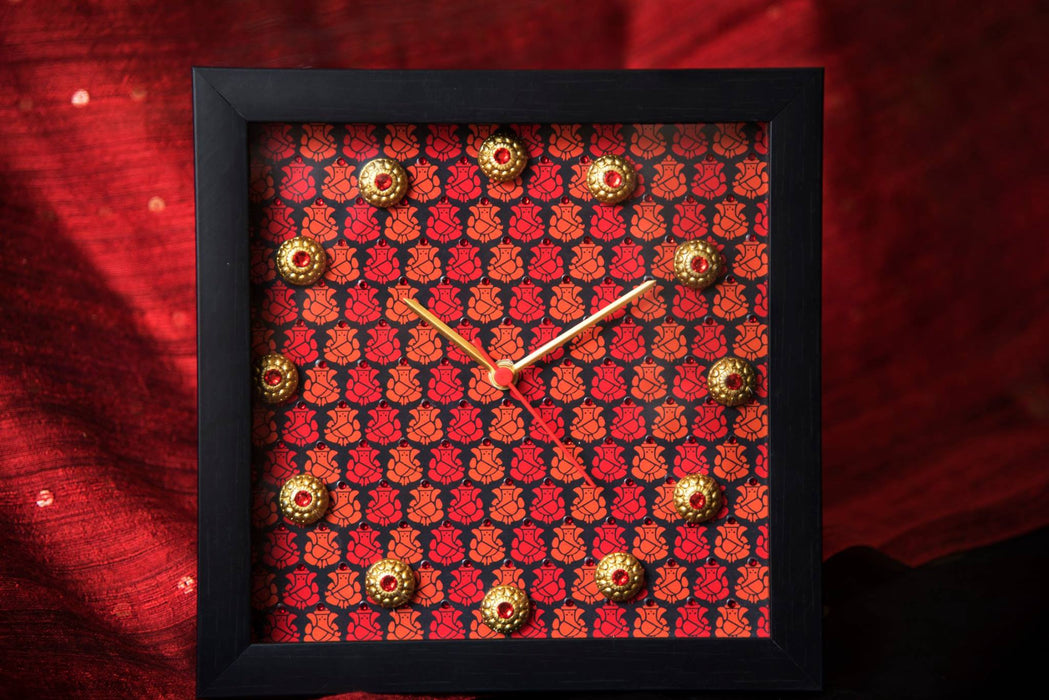 Red & Black Multi Ganesha Clock - Footprints Forever