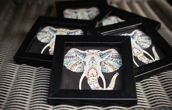 coasters with elephant print