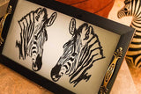 tray with zebra print embellished with crystals