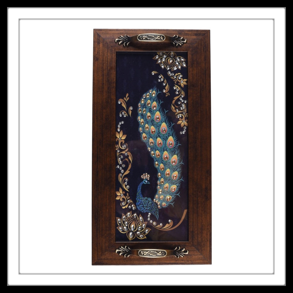 Long Rectangular bedazzled Blue & gold Peacock tray for home decor and gifting.