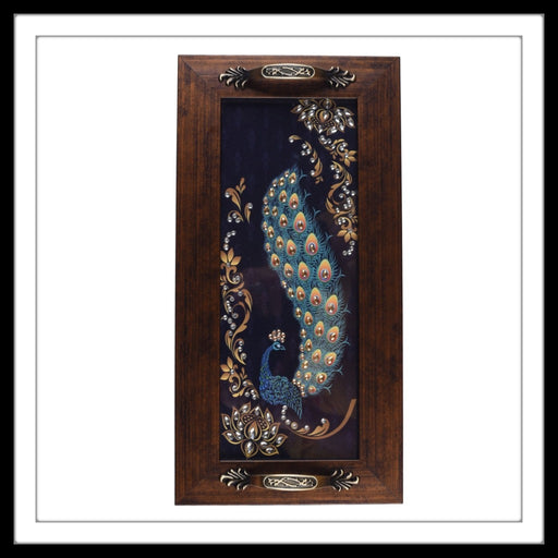 Blue Peacock Long Tray - Footprints Forever