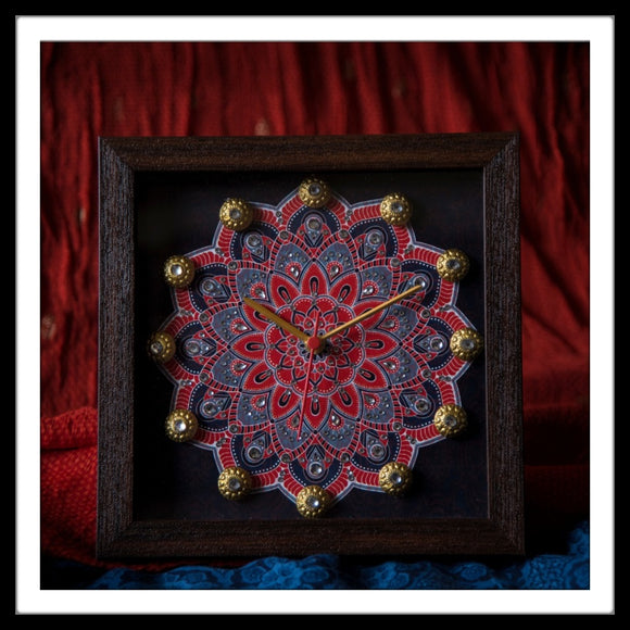 Navy Blue & Red Mandala Clock