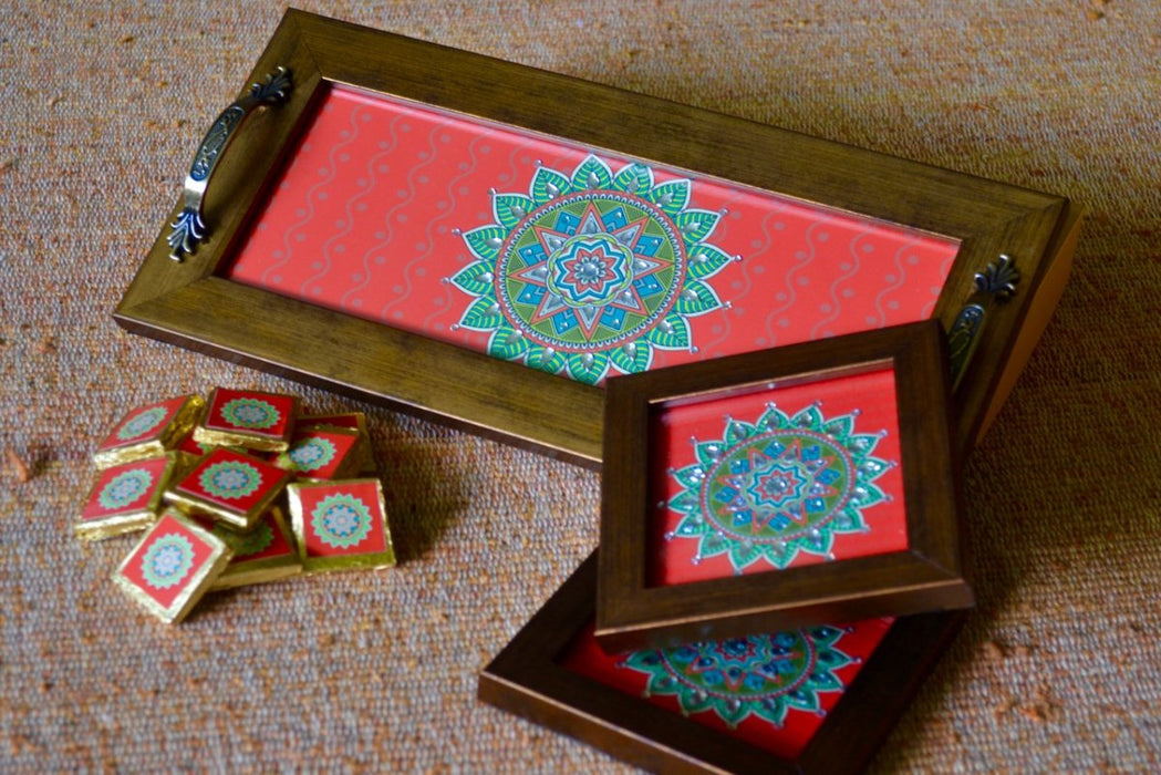 Diwali gift hamper with chocolates and tray and coasters