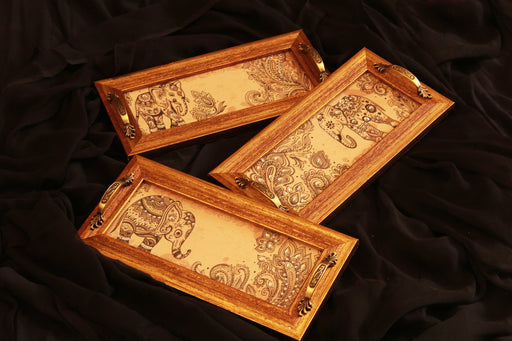 Beige Elephant Set of 3 trays