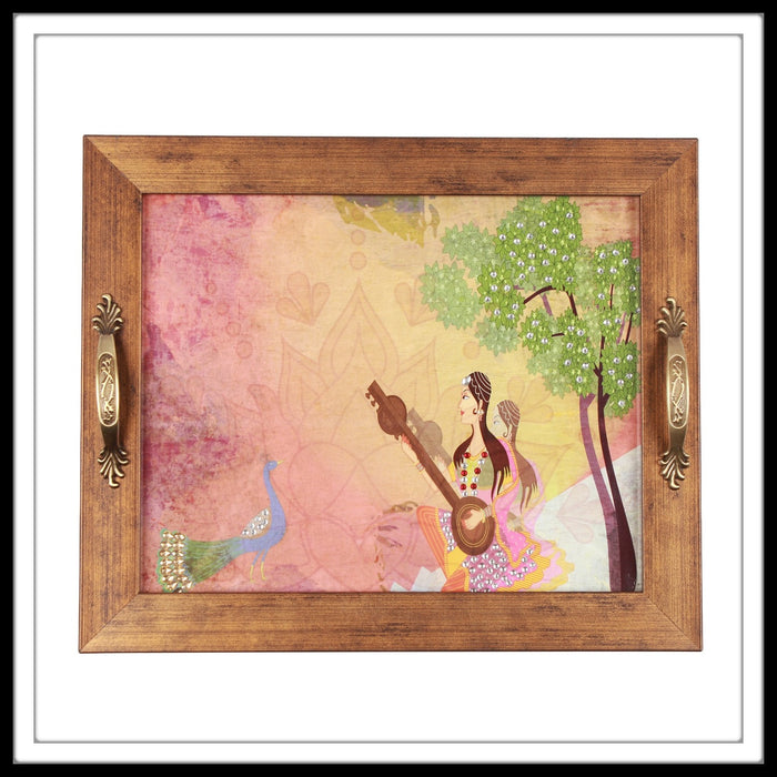 lady playing sitar at sunset with peacock under a tree depicted in tray ideal for gifting.