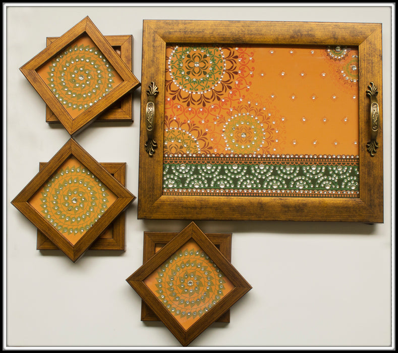 Yellow Mandala  Tray and Coasters Set - Footprints Forever