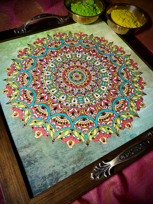 Green Mandala Square Tray