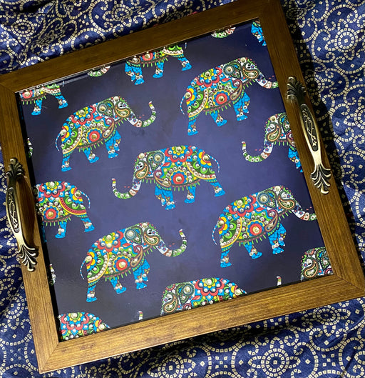 Blue Multi Elephants Square Tray