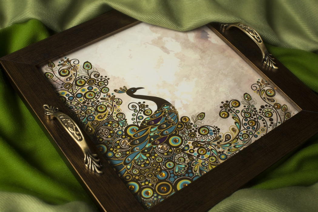 Green & Brown Peacock with Full Plumage Square Tray - Footprints Forever