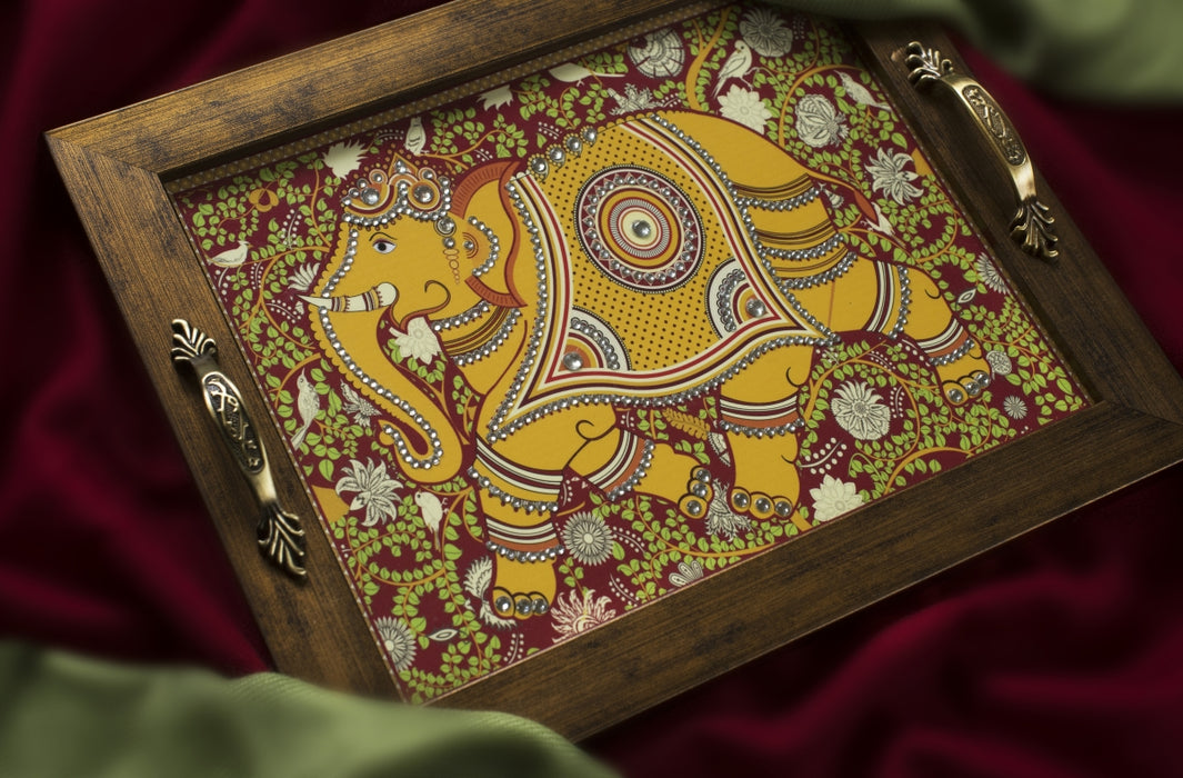 Kalamkari Elephant Rectangular Tray - Footprints Forever