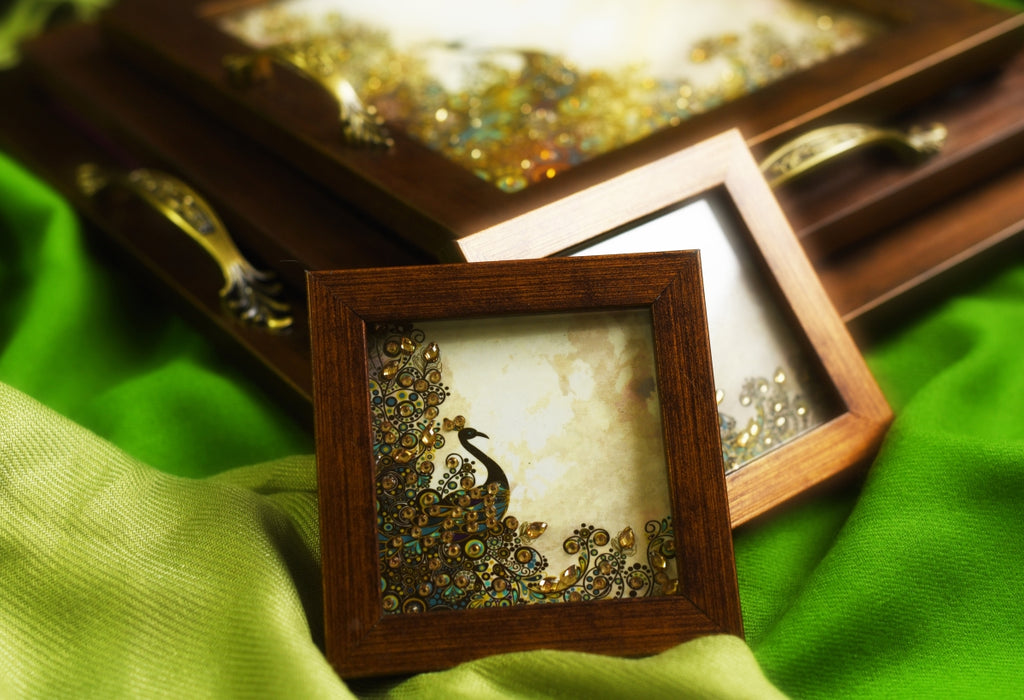 Green & Brown Peacock with Full Plumage Coasters Set - Footprints Forever