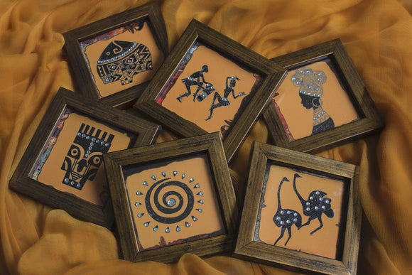 coaster set with african motifs