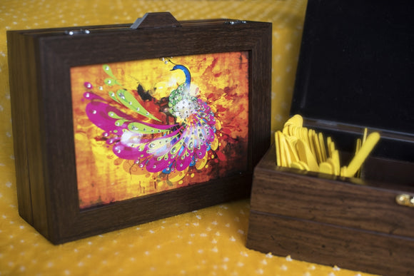 pink and yellow peacock multi purpose box