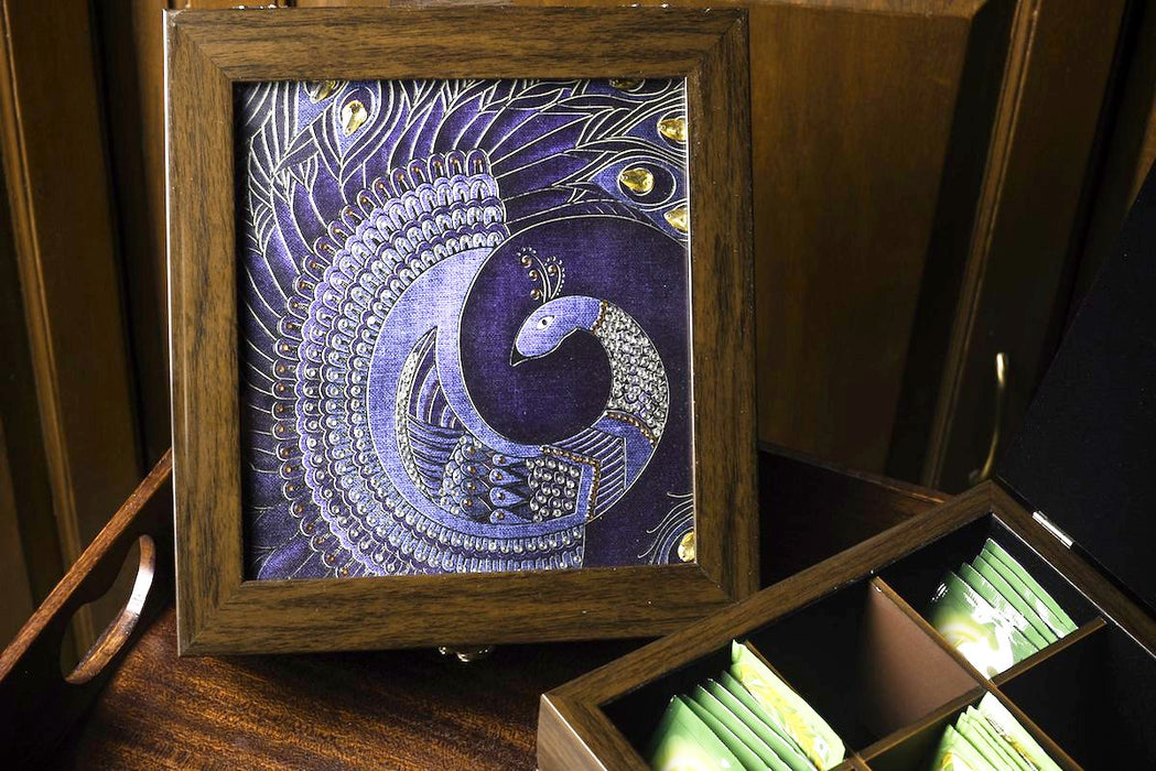 Blue Peacock print square multipurpose box for gifting and home