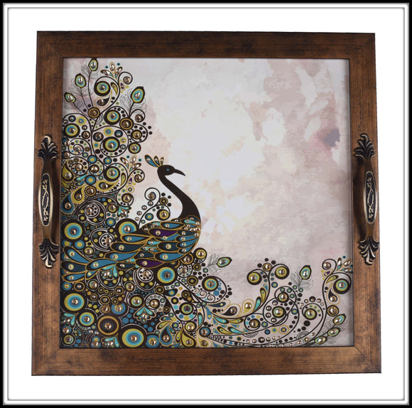 bedazzled green and brown square Peacock tray for home decor and gifting