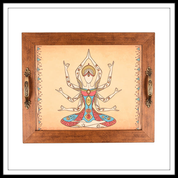 Beige Rectangular Yoga Tray