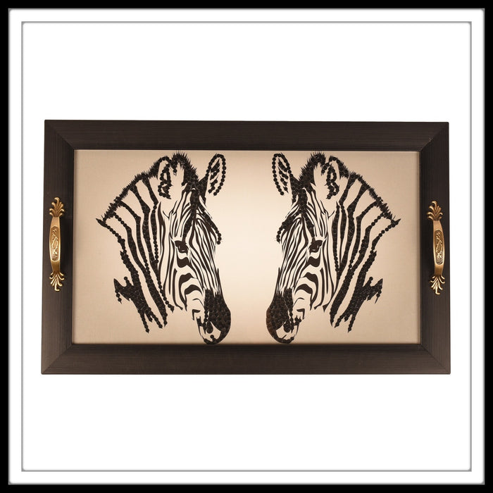 tray with black and white zebra print bedazzled with diamante