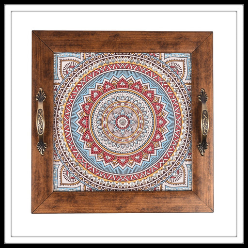 handmade embellished decorative Indian tray with multi colour mandala print