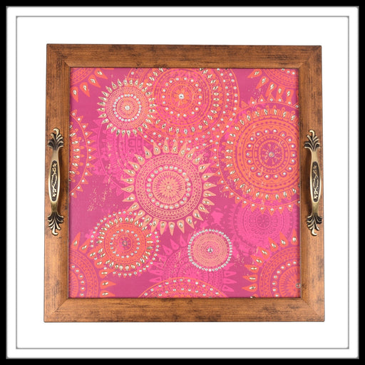 Arabesque Pink Square Tray - Footprints Forever