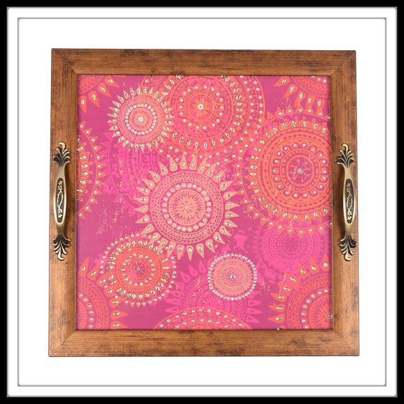ARABESQUE PINK SQUARE TRAY