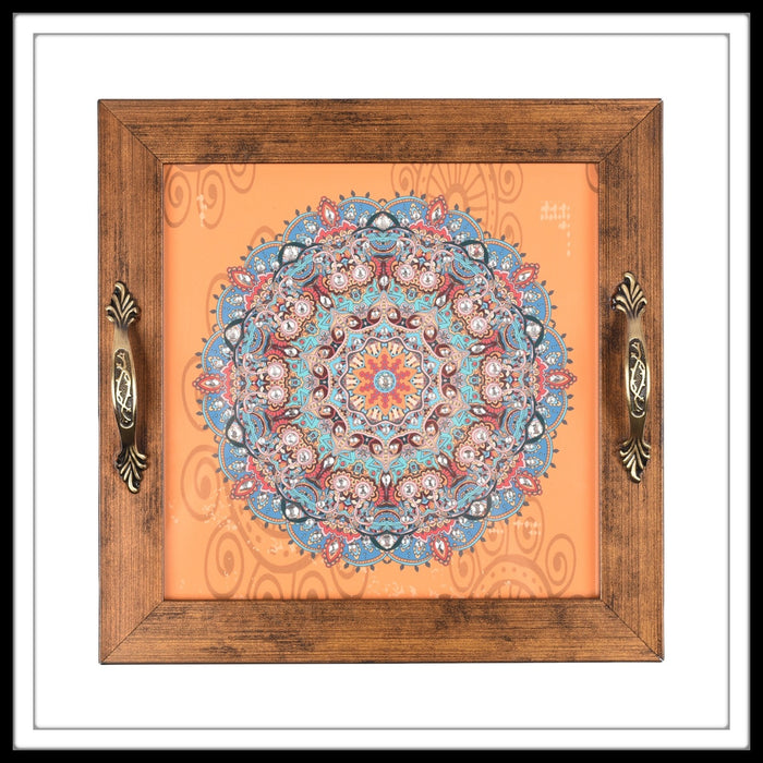 Orange Tibetan Mandala Square Tray - Footprints Forever