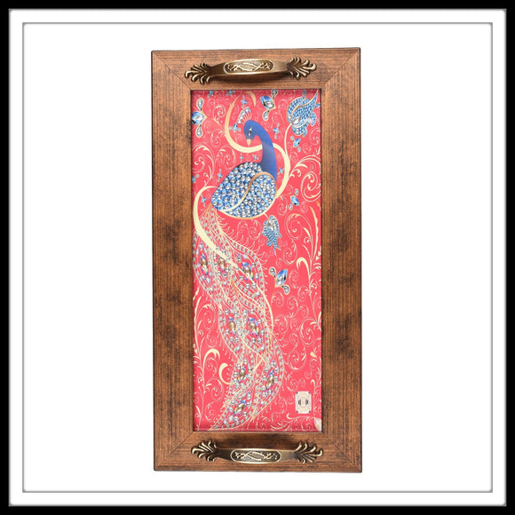 pink bedazzled peacock print long tray for home and gifting